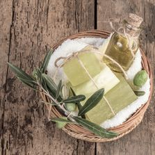 Our soaps are made with shea butter, tropical oils and goat's milk!