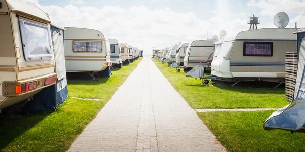 field filled with caravans
