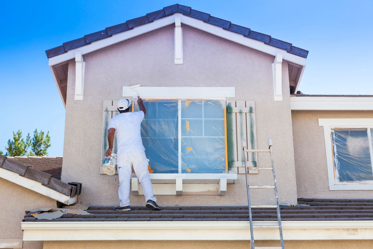 Exterior home painting by professional painters.