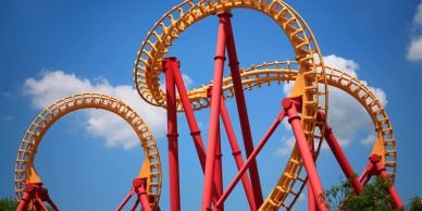 Yellow and red roller coaster.