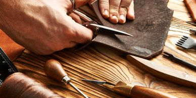 Cutting leather and leatherwork tools, in leatherwork class, leather class in Edinburgh
