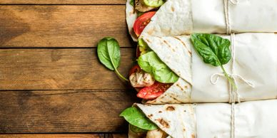 sandwhich, healthy, wrap, business, organic, lunch, to go, fresh, fast, top view, meal, individual
