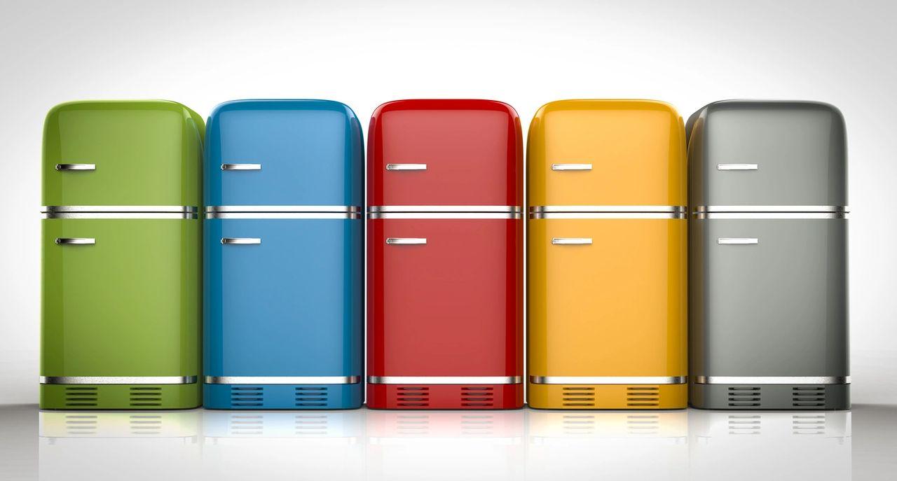 Line of classic colored refrigerators