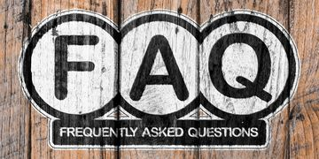 FAQ Frequently asked questions on top of wooden sign. Linked to FAQ page.