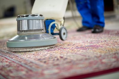 a rug cleaning in process