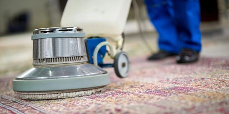Someone using a carpet cleaner on a rug.