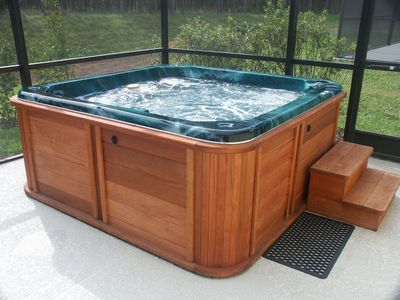 Hot tub in sunroom