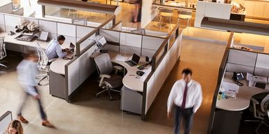 workstations, cubicles, shared office, global furniture, bull pen, divided walls, business offices