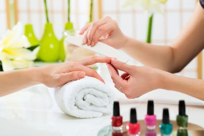 Gelish manicure nails treatment application