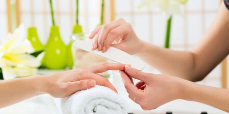 Each manicure begins with a calming ritual iessential oil blend to induce deep relaxation.