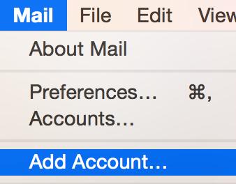 Mail'i tıklayın, Hesap Ekle'yi seçin