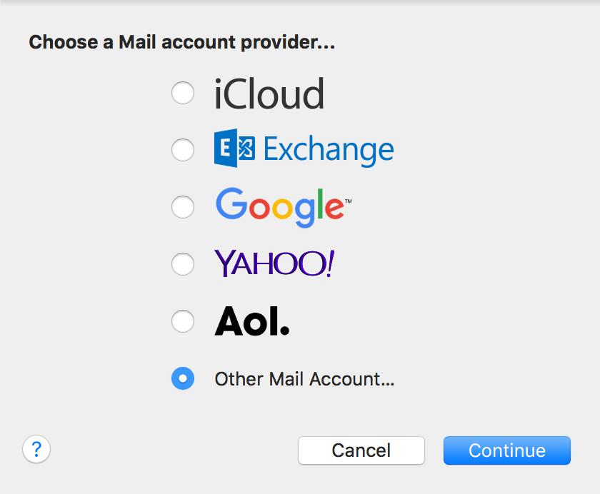 Selecciona Agregar otra cuenta de correo, luego haz clic en Continuar.