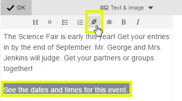 Highlight the text, and click the link button