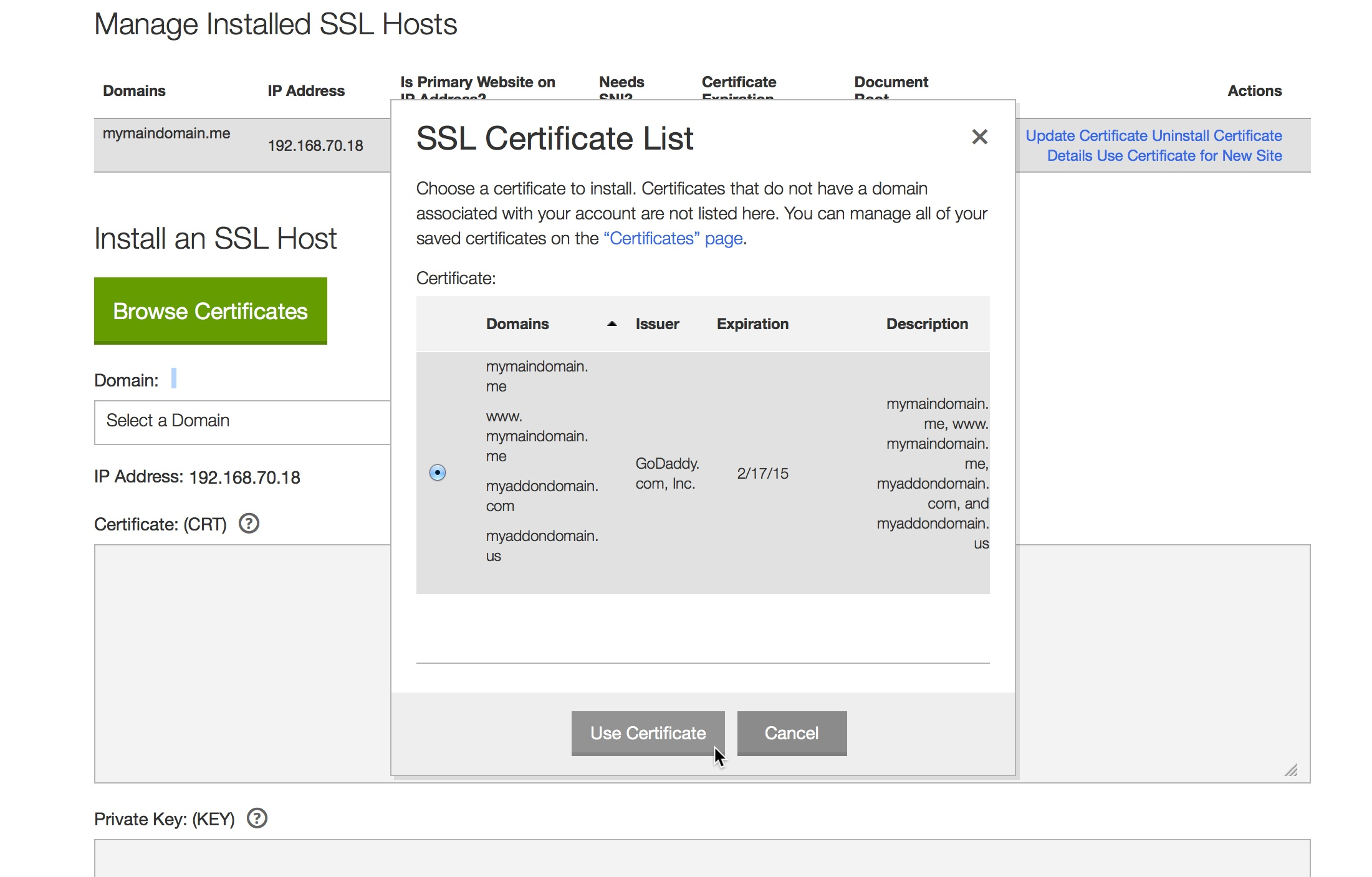 Install A Ucc Certificate For Cpanel Addon Domains Linux Hosting