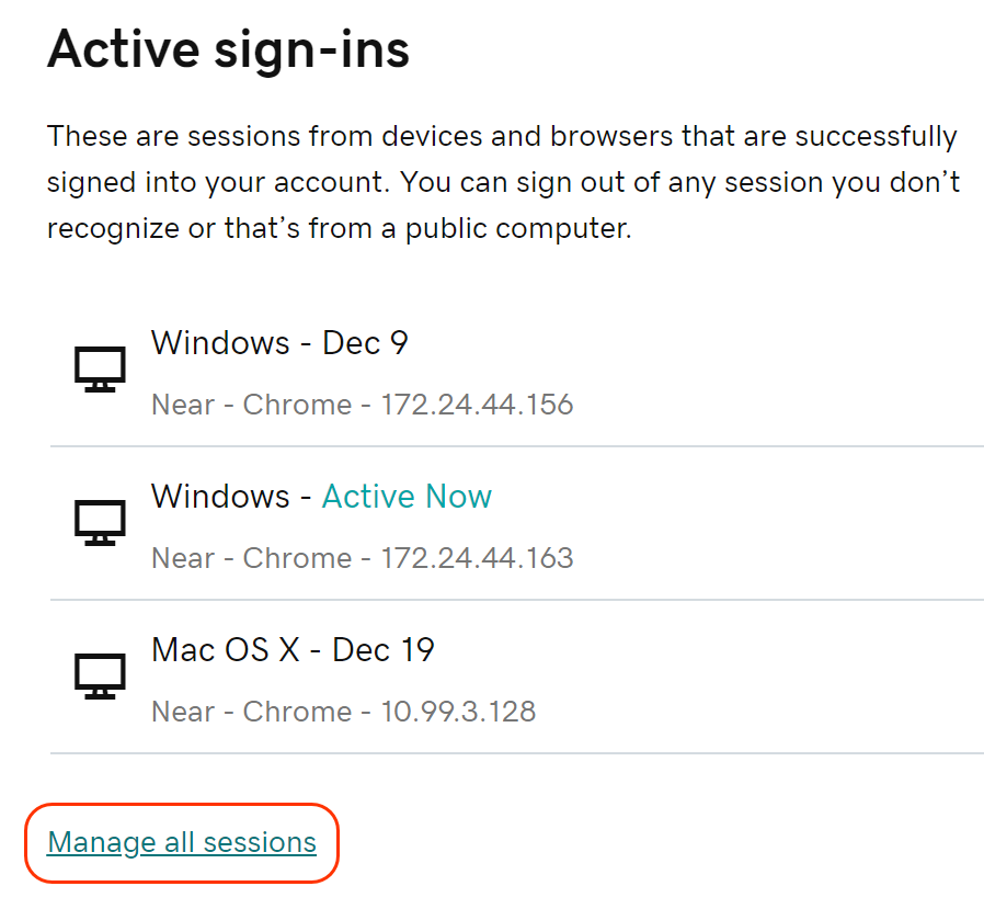Click Manage All Sessions