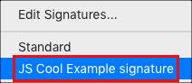 메시지 옵션에서 서명 추가