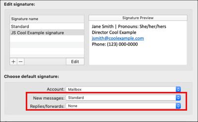 서명 이메일 기본 설정 선택
