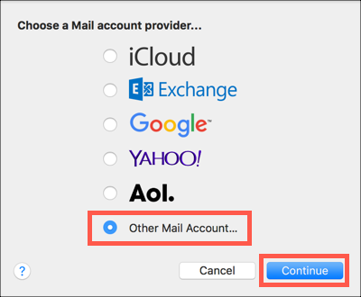 Select Other Mail Account, click Continue