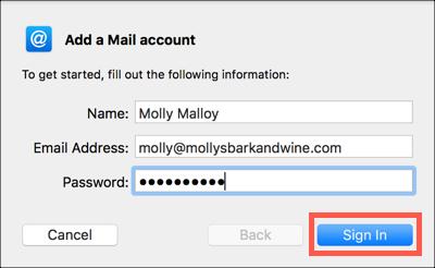Insira suas informações de email.