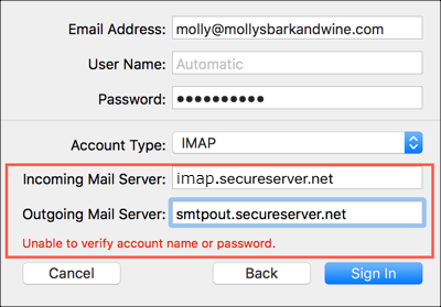 Enter mail server settings