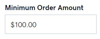 Inserisci l'importo minimo dell'ordine