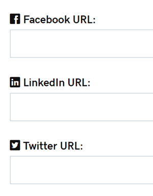 Entrez les URL des médias sociaux