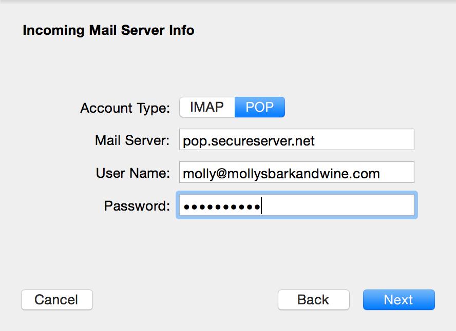 Choose IMAP or POP, enter details.
