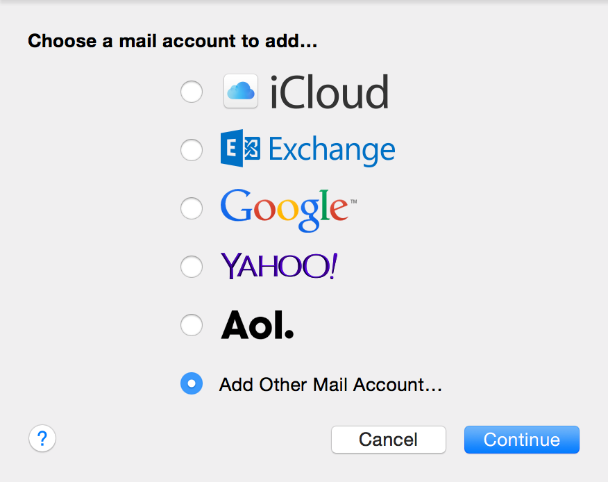 Select Add Other Mail Account, click Continue