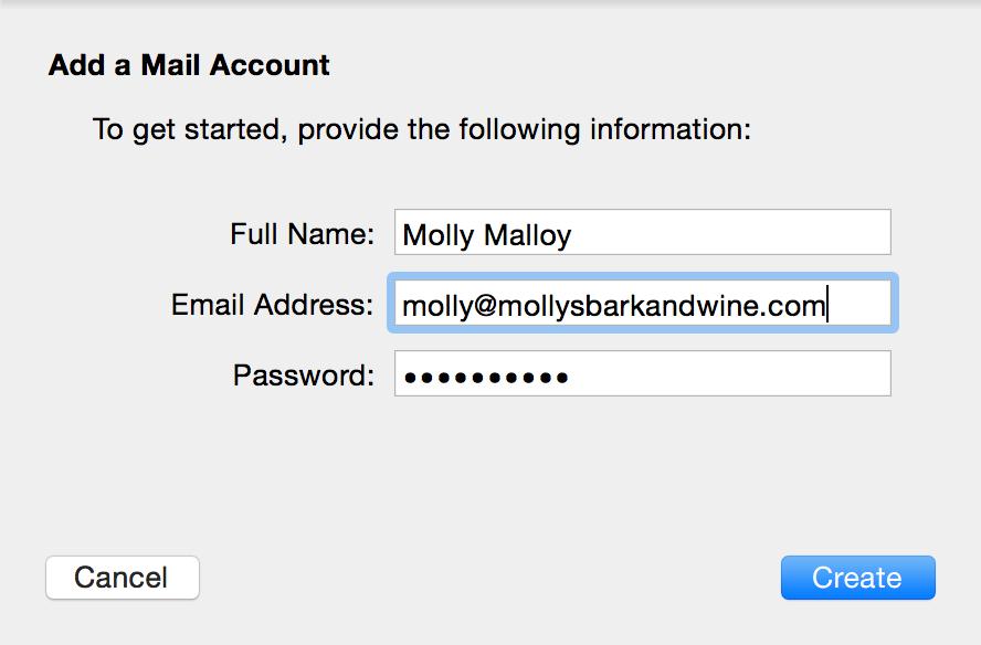 Enter email details.