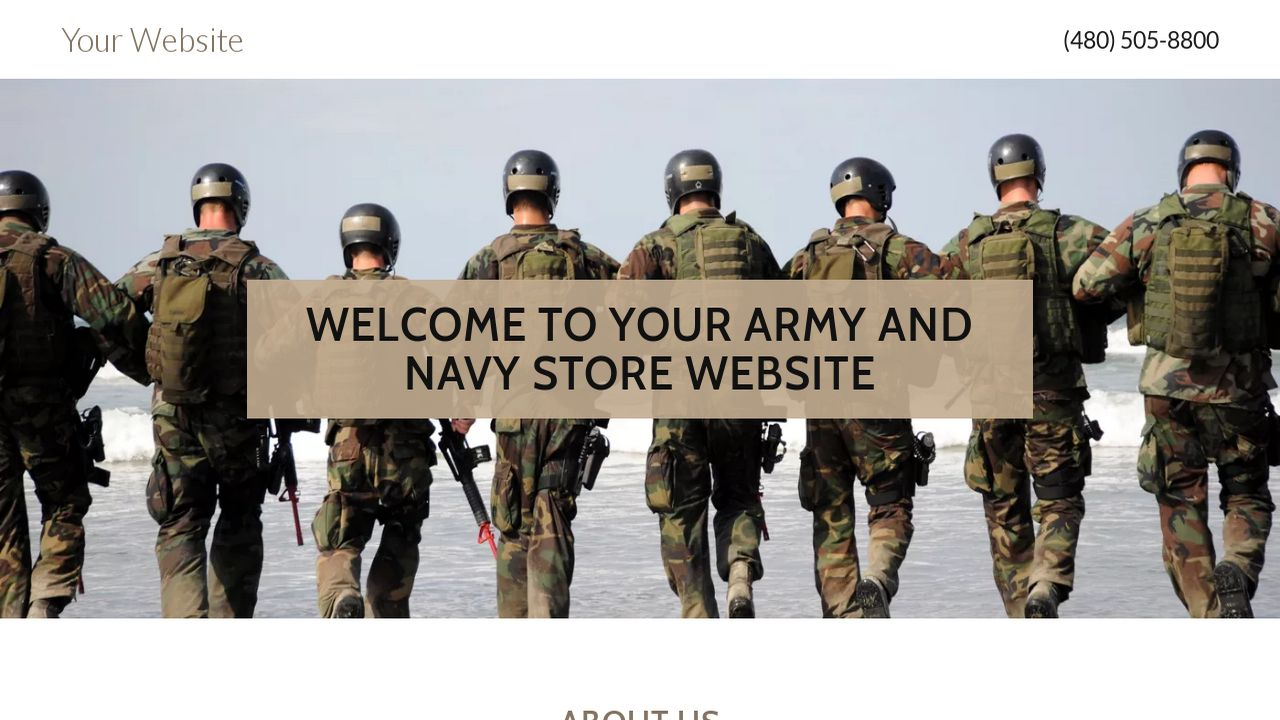 Army and Navy Store Website: Example 3