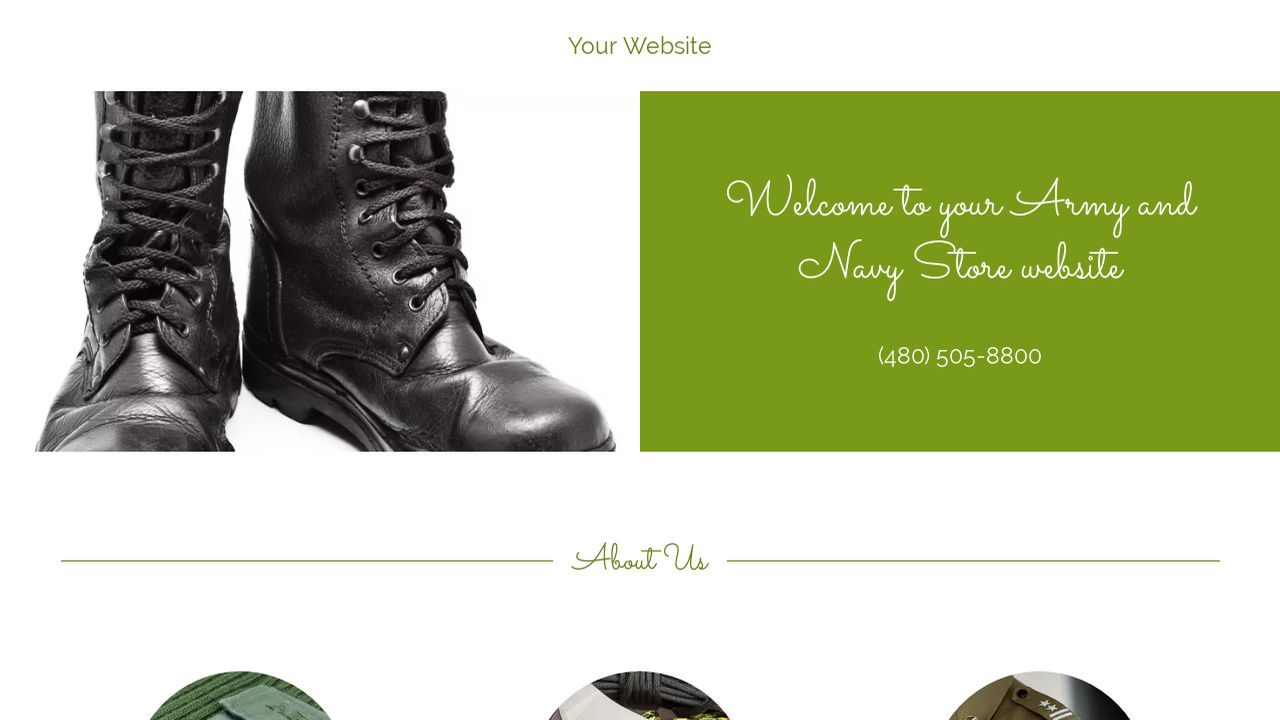 Army and Navy Store Website: Example 4