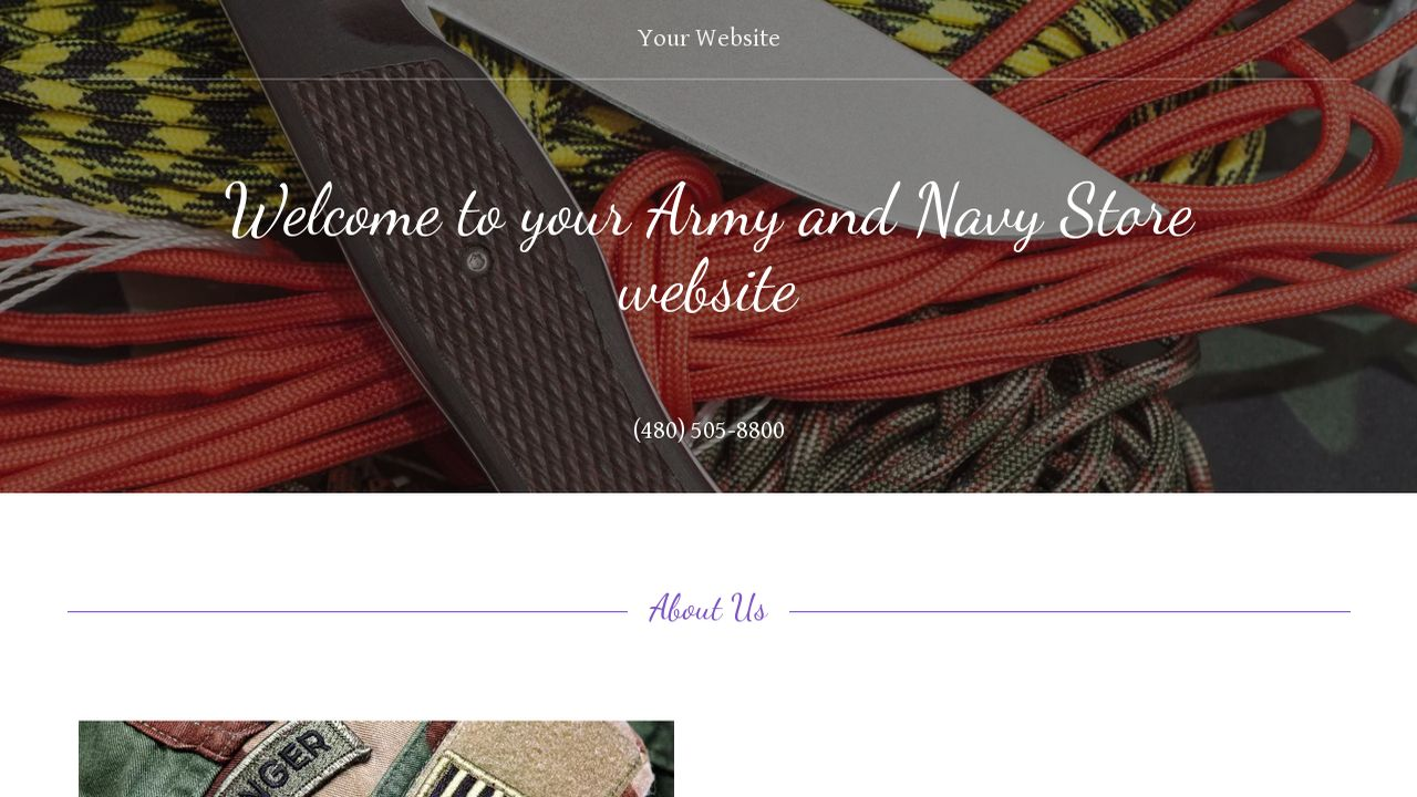 Army and Navy Store Website: Example 6