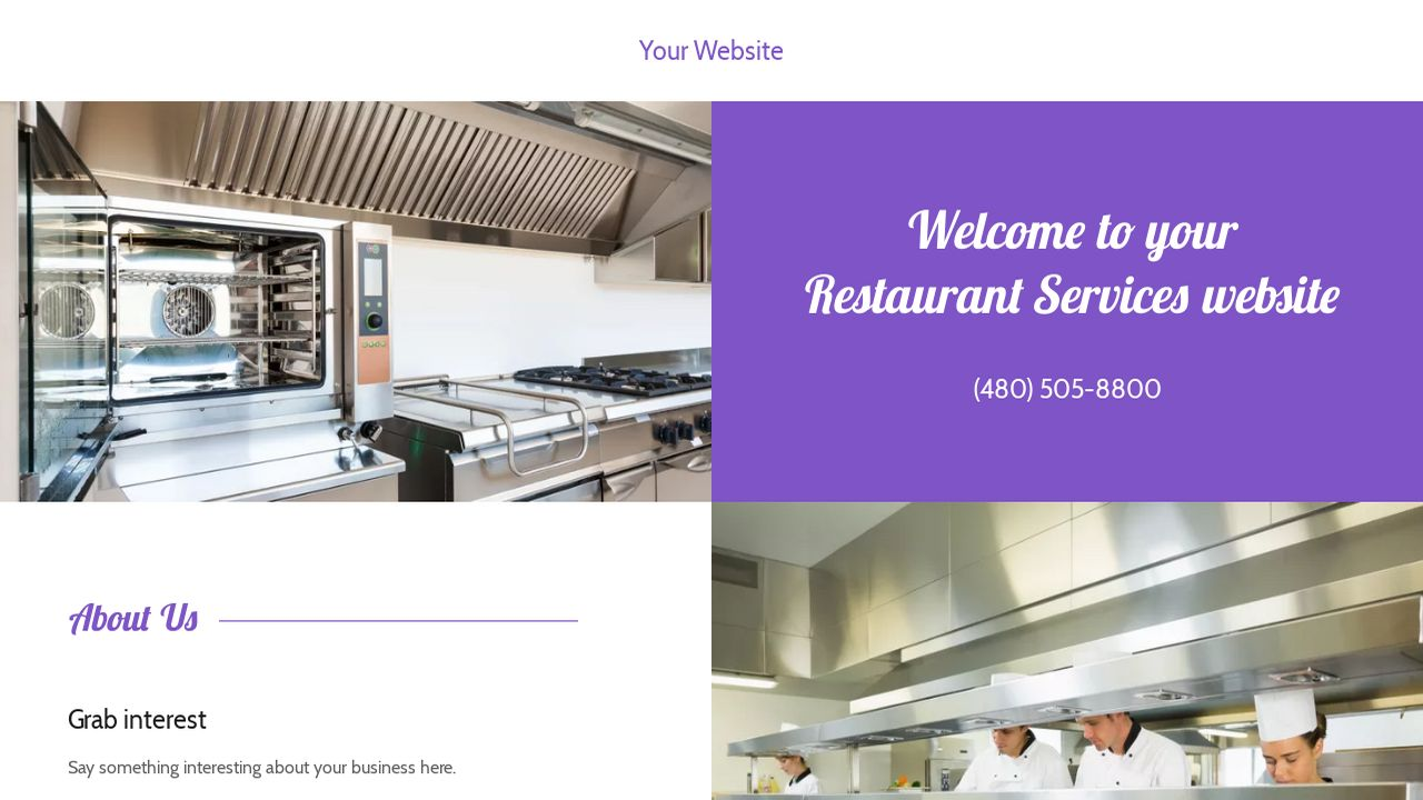 Restaurant Services Website: Example 2