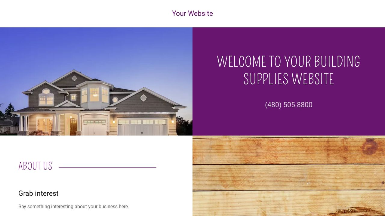 Building Supplies Website: Example 4