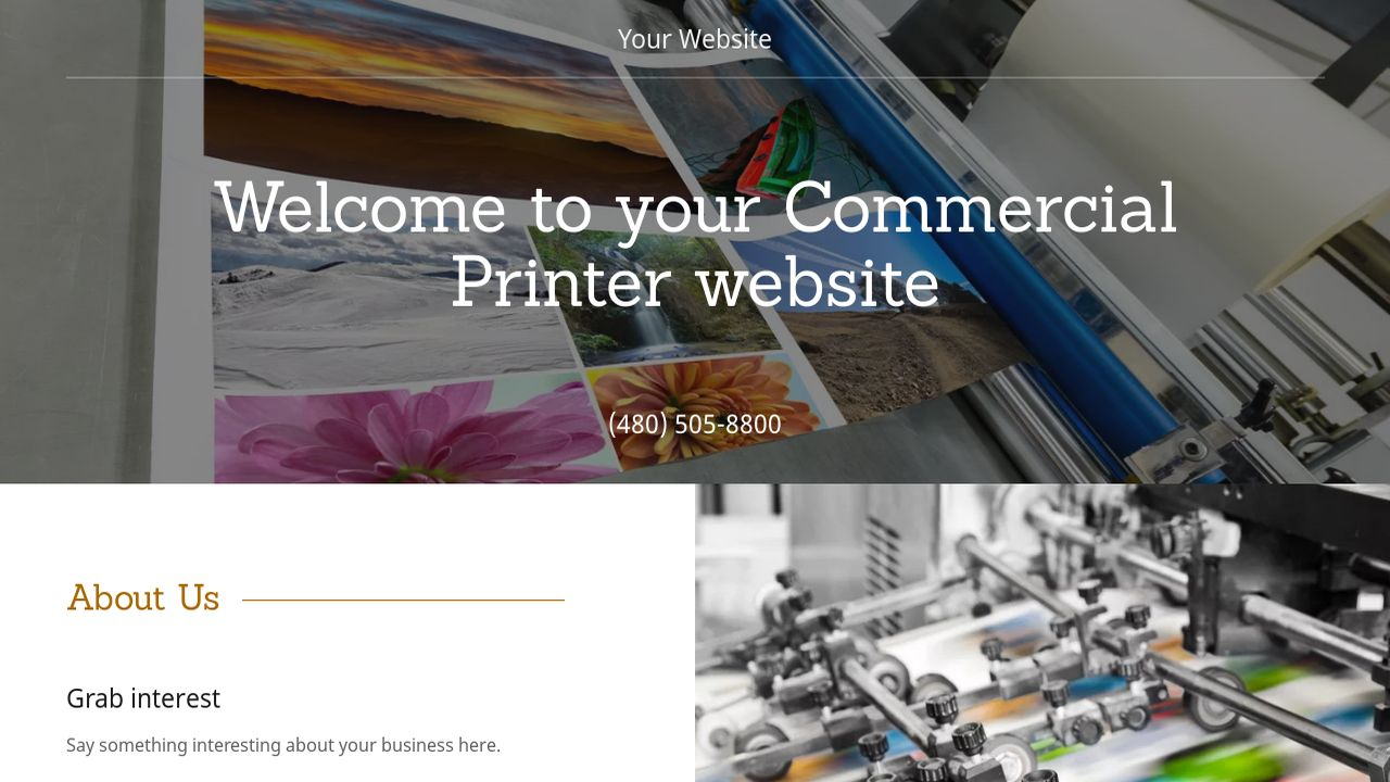 Commercial Printer Website: Example 3