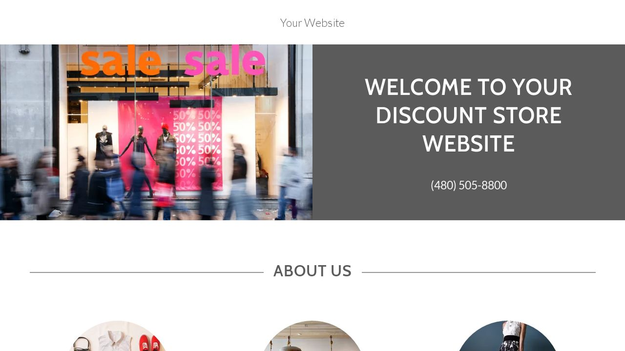 Example 1 discount store website template godaddy for Websites to shop online cheap