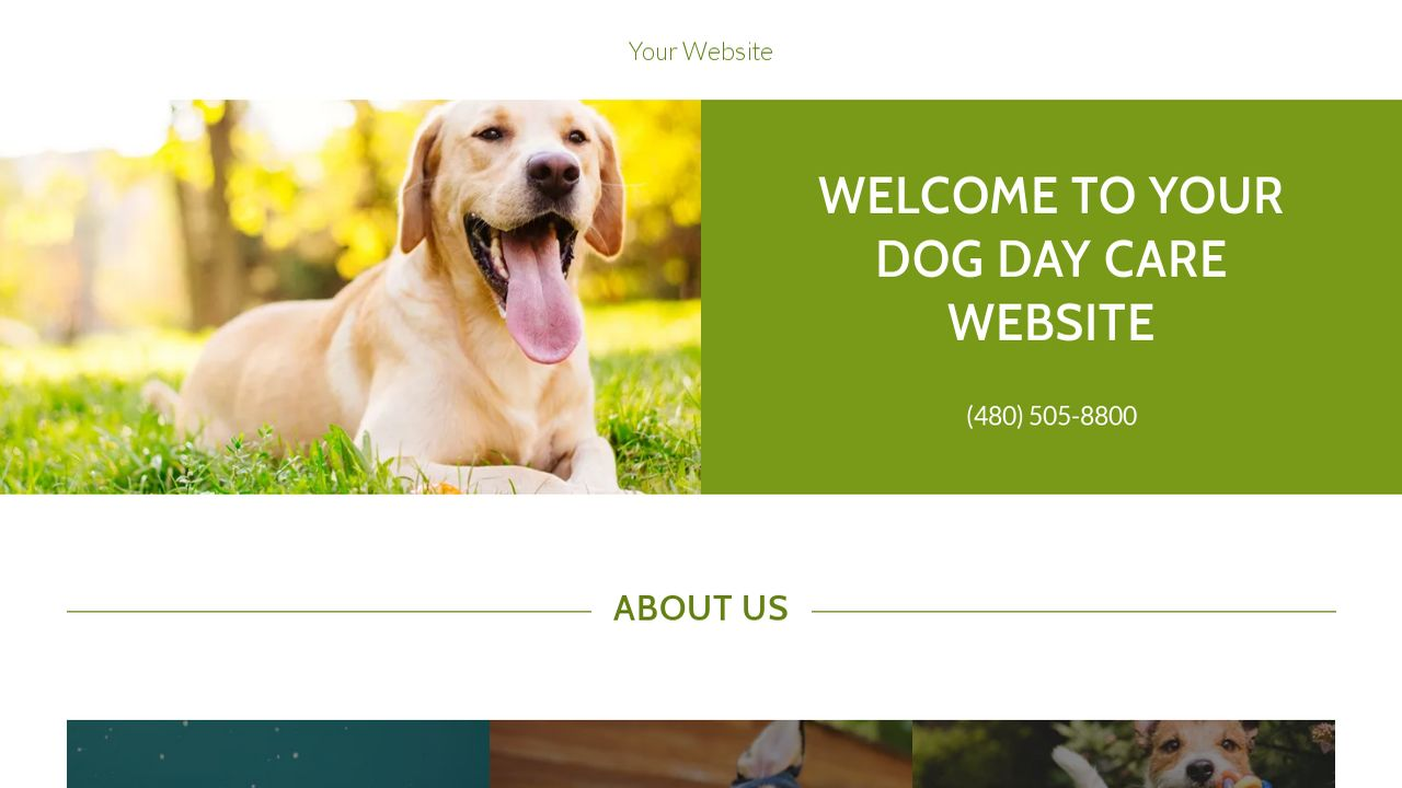 Example 11 dog day care website template godaddy for Dog boarding website