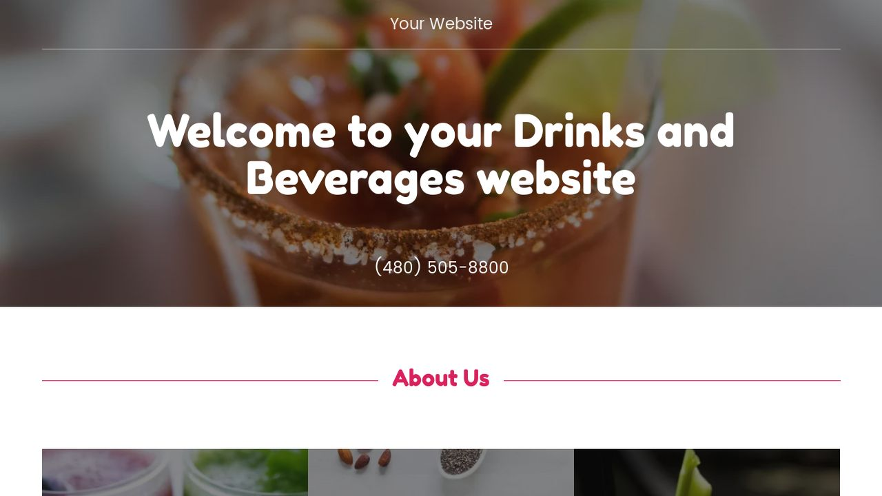 Drinks and Beverages Website: Example 13