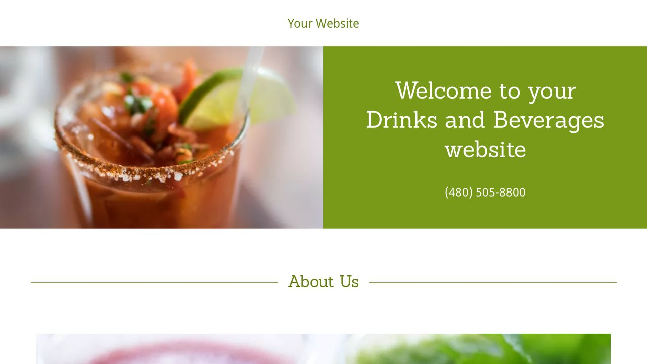 Drinks and Beverages Website: Example 15