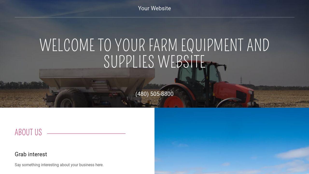 farm equipment and supplies website templates