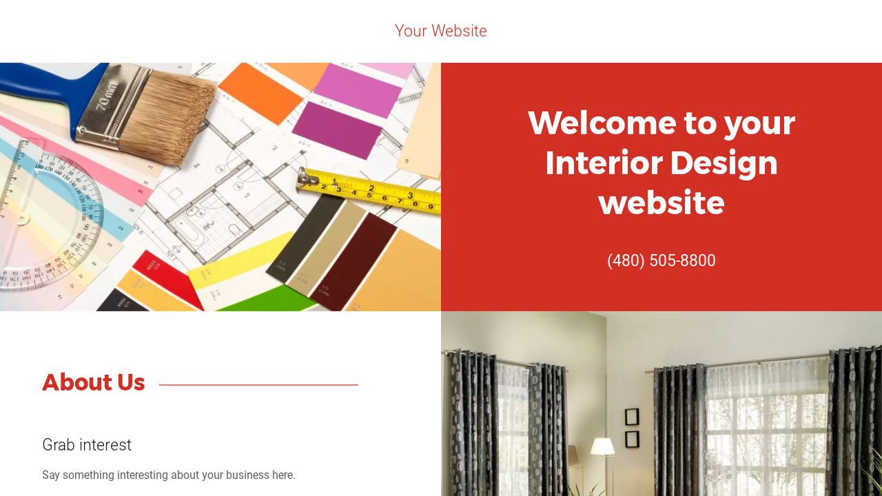 Example 10 interior design website template godaddy for Interior design examples