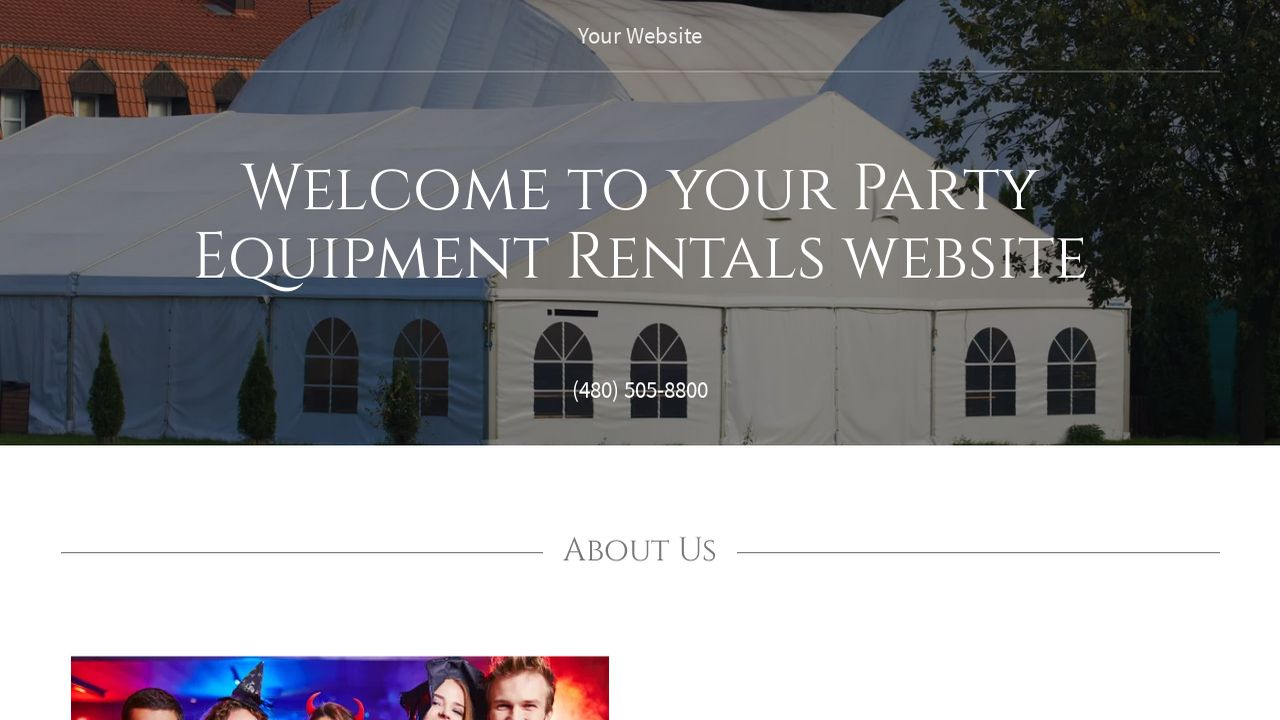 example 4 party equipment rentals website template godaddy. Black Bedroom Furniture Sets. Home Design Ideas