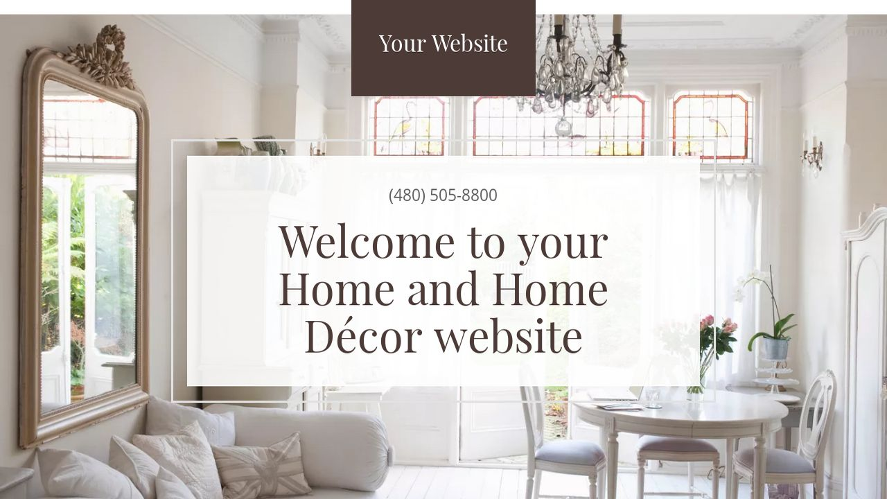 Example 7 home and home d cor website template godaddy for Home interior website