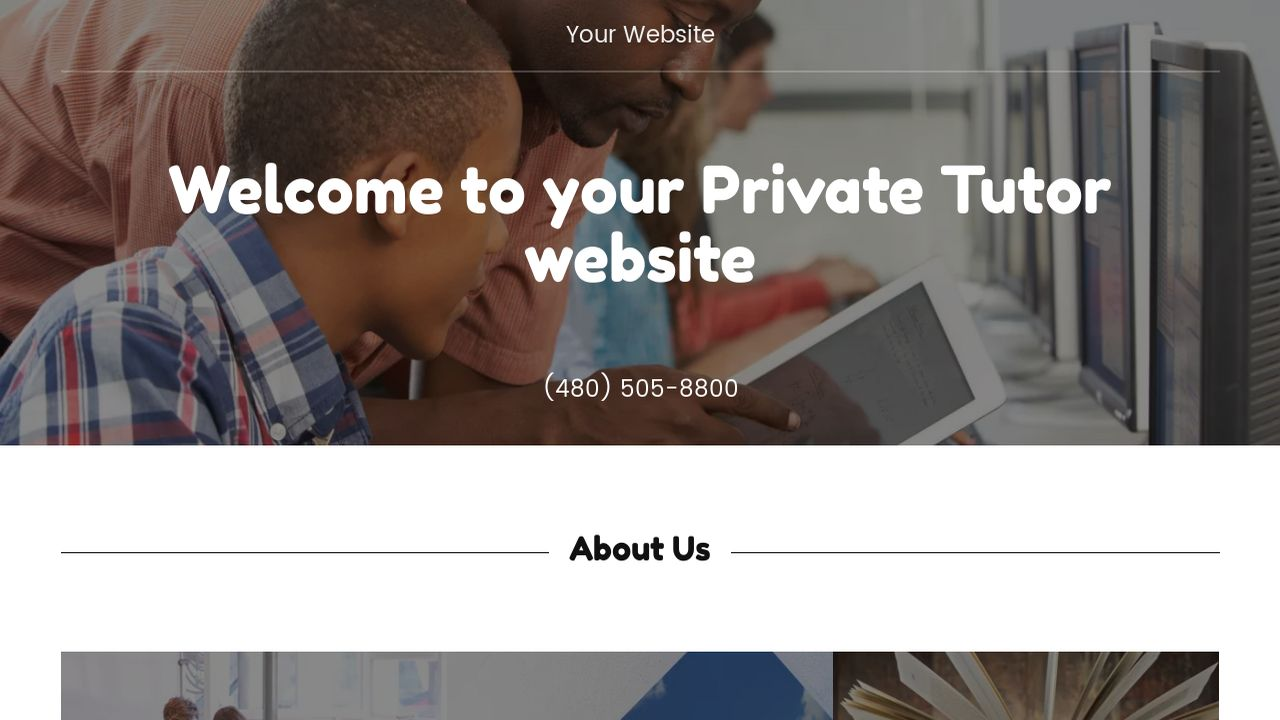 Private Tutor Website: Example 1