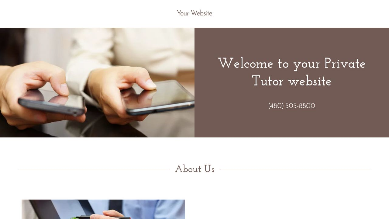Private Tutor Website: Example 2