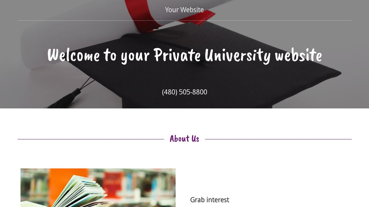 Private University Website: Example 9