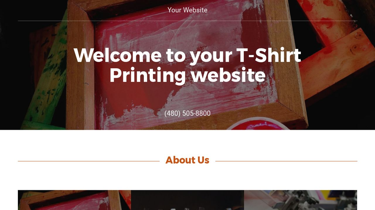 example 2 t shirt printing website template godaddy