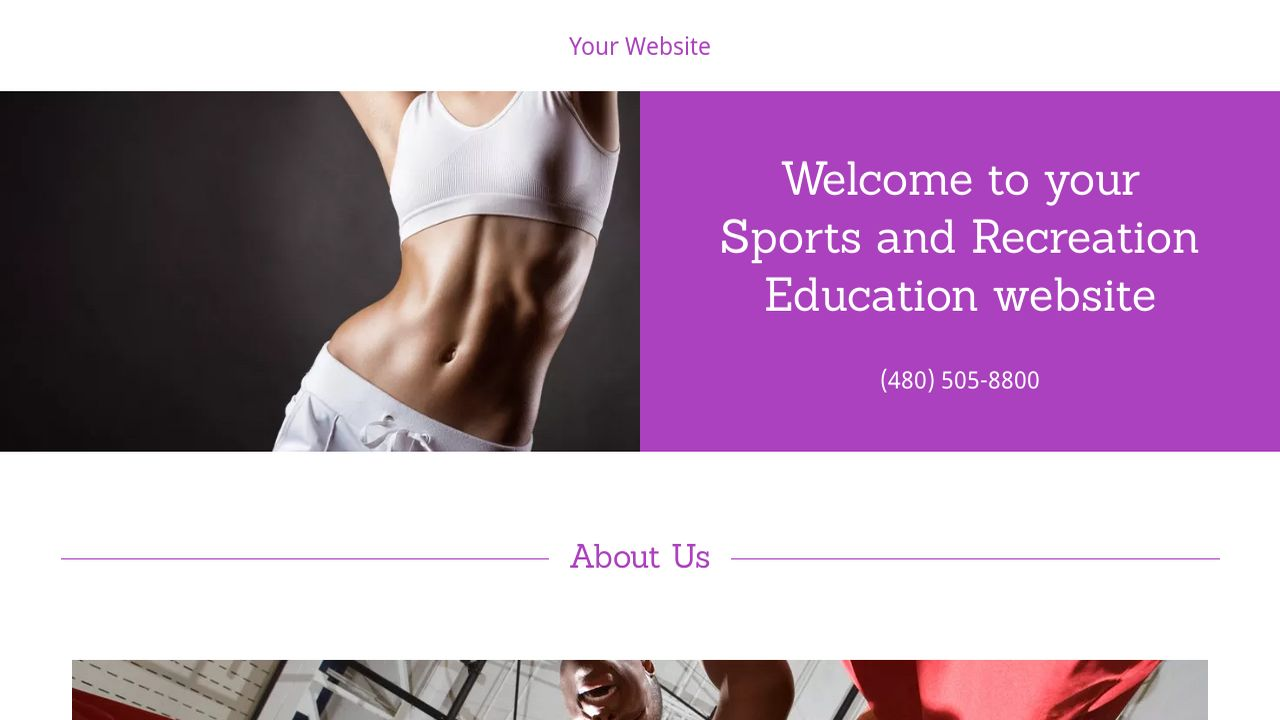 Sports and Recreation Education  Website: Example 16