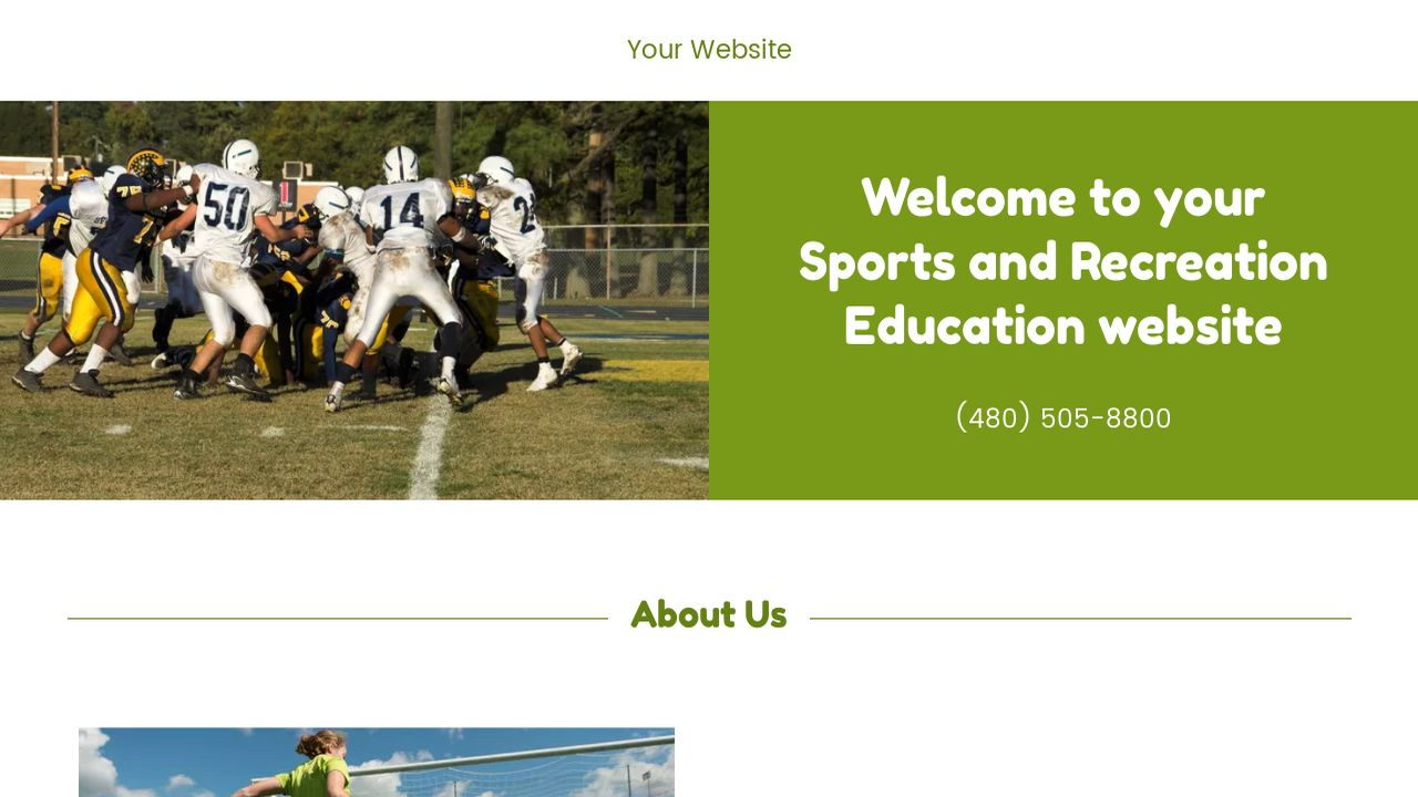 Sports and Recreation Education  Website: Example 2