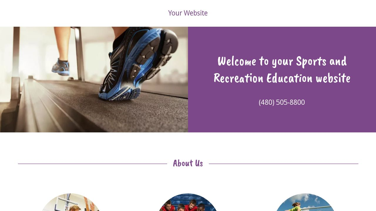 Sports and Recreation Education  Website: Example 9